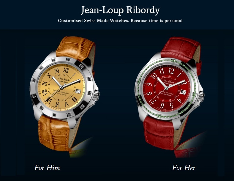 Custom Made Swiss watches by Jean-Loup Ribordy watchmakers. Create and order yours on our website: www.RibordyWatches.com  Your name on dial of Custom Made Swiss watches by Jean-Loup Ribordy watchmakers. Personalized and customized Swiss Made watches. Corporate and private label branding and design. Your name on dial, Engraving on back-case. Diamond encrusted bezels, Real leather straps. Custom Swiss Watches for men and women. Free Worldwide delivery by UPS.